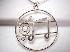 Treble Clef and Eighth Note 925 Sterling Silver Pendant Round New