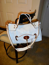 orYANY White Leather Gold Chain  Convertible  Satchel Bag Purse
