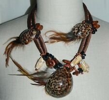 VTG Tribal Ethnic Conch Shell Feather Wood Bead Necklace & Clip Earring Set