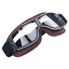 Motorcycle Retro Vintage Aviator Pilot Bikes Racing Goggles Glasses Clear Lens