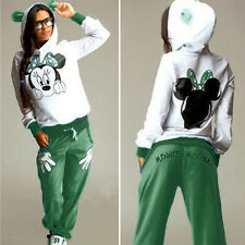 Womens Mickey Minnie Tracksuit Set Sweatshirt Pants Sportwear Hoodie Casual Suit