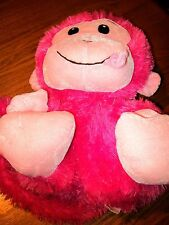 Small Stuffed Pink Monkey with Smile and Tongue Sticking Out