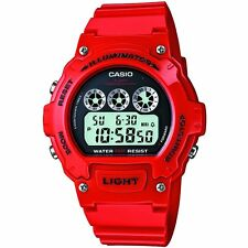 Casio Mens Red Digital Illuminator Sports Red W-214HC-4AVEF Stopwatch Watch