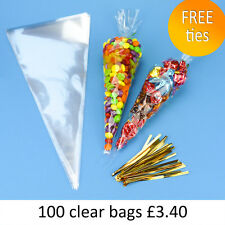 100 Quality Clear Cellophane Cello Cone Sweet Party Bags FREE Gold Ties 18x37cm