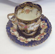 Antique Crown Staffordshire Demitasse Cup And Saucer Cobalt Blue Gold Flowers