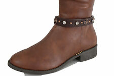 Women Fashion Boot Strap Anklet Bracelet Brown Leather Studs Shoe Cross Charms