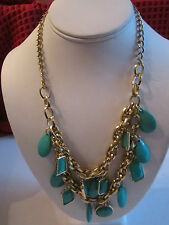 "GOLD TONE & FAUX TURQUOISE NECKLACE FASHION COSTUME JEWELRY - 21"" LONG - BBA"