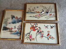 Set of 3 Oriental/Asian embroidery on silk framed pictures VINTAGE