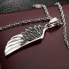 AgentX Mens Wing Pendant Feather Stainless Steel Chain Cool Necklace Jewelry+Bag