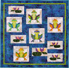 """~ WHIMSICAL QUILT PATTERN ~ FEELING FROGGY WALL HANGING ~ 49""""X49"""" ~"""