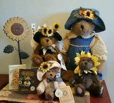 Lot of 4 Boyds Bears SUNFLOWER Plush Collection bonus PIN w/ tags Fall - EUC