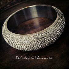 Stainless steel & genuine white crystal wide chunky bling sparkly 65mm bangle