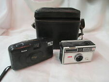 Vintage 2 Kodak Cameras Instamatic 104 & KB10 with Cowhide leather Case