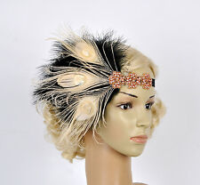 20s Rose Gold Feather Headpiece Vintage 1920s Flapper Headband Great Gatsby