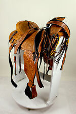 """16"""" Western Wade Ranch Roping Saddle Hard Seat with Package HS/BC & Girth TAN"""