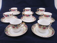 8 TK Thun Thuny Czechoslovakia Demitasse Cups & Saucers Blue Inserts Floral