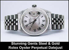 Gents Stainless Steel & 18k Gold White Roman Numeral Dial Rolex Rolex Datejust