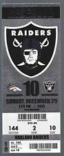 2013 NFL BRONCOS @ RAIDERS UNUSED FOOTBALL TICKET MANNING 55 TD - 3 RECORDS SET