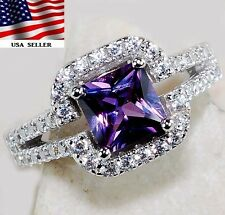 2CT Amethyst & White Topaz 925 Solid Sterling Silver Ring Sz 7, T7-10