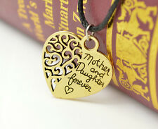 Valentine Mother And Daughter Forever Gold Heart Pendant Rope Necklace WCA-4