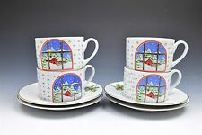 Home For The Holidays Christmas Holly Winter Dishes by Shibata Cup & Saucer 4set