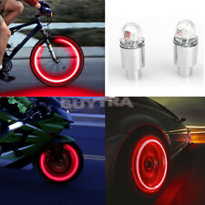 2PCS LED NEON VALVE DUST CAP LIGHT CAR VAN BIKE BMX WHEEL TYRE SPOKE SAFETY LAMP