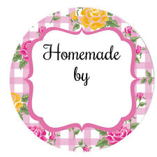 'HOMEMADE by' stickers - 60mm, floral gingham designs, 4 colours available