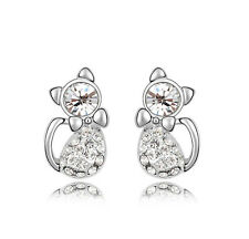 Amazing White Crystal Rhinestones Cute Cats Stud Earrings Studs E513
