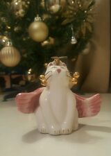 2002 Amy Lacombe Whimsical Angel Cat Ornament Porcelain Collectible Pink Gold