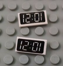 LEGO Lot of 2 White 1x2 Clock Decorated Tile Pieces