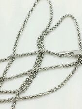"14k White Gold Round Wheat Necklace Pendant Chain 30"" 1.5mm"