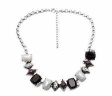 Fashion Grueso Babero Collar Distinguido Collar Piedras Diamante Negro Gris Blanco Reino Unido
