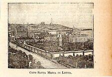 Stampa antica SANTA MARIA DI LEUCA minuscola veduta Lecce 1905 Old print