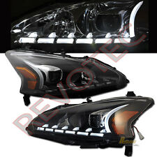 Black LED Bar Projector Headlights For 2013-2015 Nissan Altima Sedan 4-Door