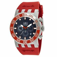 New Mens Invicta 12417 DNA Diver Black Dial Red Rubber Strap Chronograph Watch