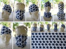 Head/Face/Mask/Neck Multi-wear tube Bandana/Durag.SPF5,Scarf/Wrap.050 Blue Stars