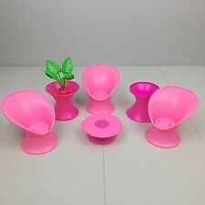 Vintage BARBIE PATIO POOL PARTY FURNITURE LOT 1987 Pink Tulip Chairs RARE