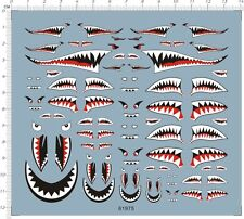 1/144 1/72 1/48 1/32 Scale Military Aircraft Shark Jaw Model Water Slide Decal