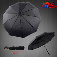 Wind Resistant Strong Auto Open Close Windproof Vented Men's Lady Black Umbrella