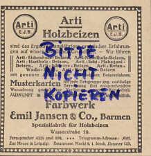 BARMEN, Werbung 1922, Farbwerk Emil Jansen Spezial-Fabrik für ARTI Holz-Beizen