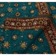 Vintage Indian Saree Georgette Hand Beaded Fabric Sequins Cultural Blue Sari