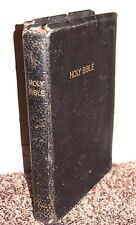 Holy Bible Large Print Black Reference World Red Letter Ed Genuine Leather RARE
