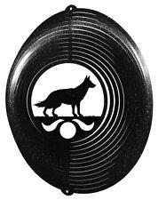 German Shepherd BLACK Metal Swirly Sphere Wind Spinner *NEW*