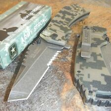 US ARMY Spring Assisted SERRATED CAMO TANTO Blade Folding Pocket MILITARY Knife