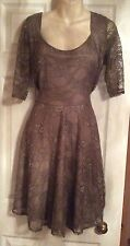 BNWT SIZE 20 TAUPE BROWN LACE FULLY LINED SKATER DRESS