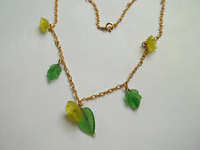 "JAPAN necklace,gold tone,glass leaves and flower charms,great cnd,16""long"