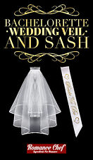 Bachelorette Party Wedding Veil with Comb and White & Gold Bride To Be Sash