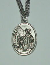 St Blaise with Young Mother & Child Holy Medal on Chain Throats & Veterinarians