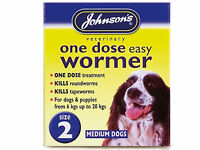 Johnsons One Dose Wormer Dog Worming Tablets Roundworm & Tapeworm SIZE 2