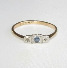 Old vintage 9ct gold platinum detail diamond sapphire Art Deco ring size O 1/2